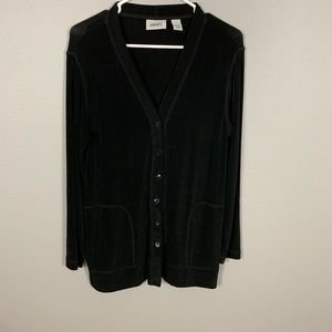 Chico's Travelers Black Button Front Cardigan